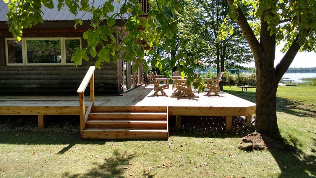 Deck on lake home