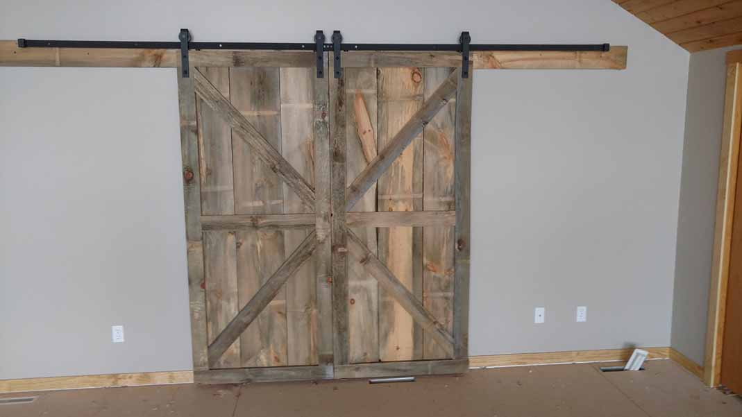 Barn doors used in lake home remodel