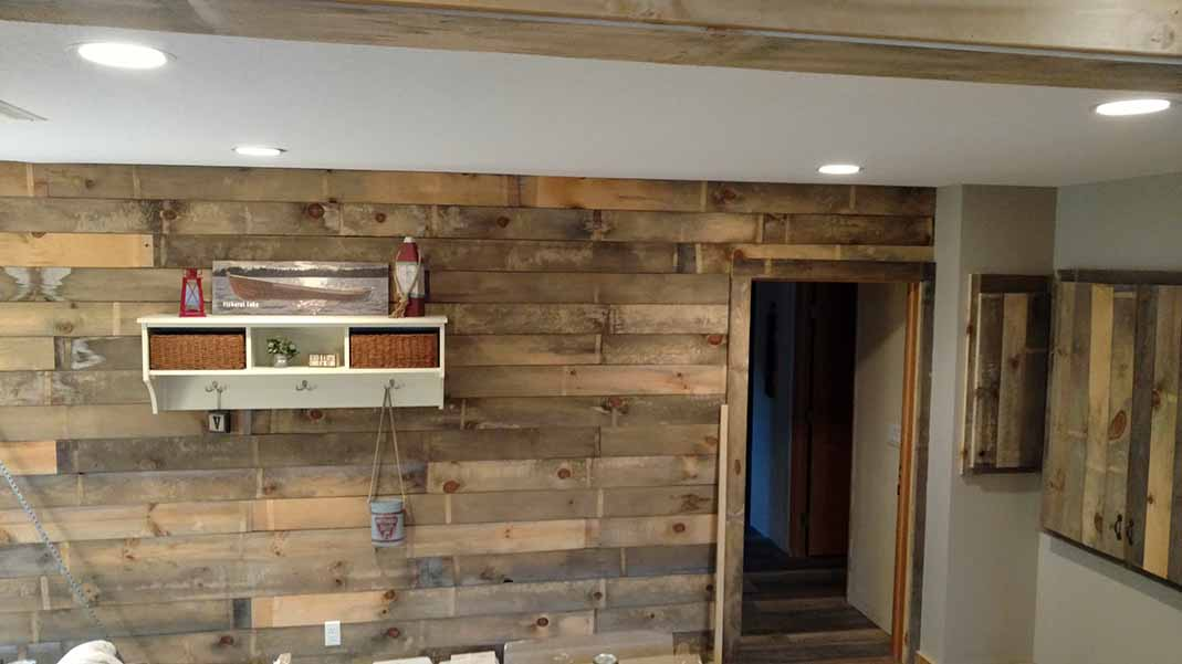 Lake home remodel, rustic wall design